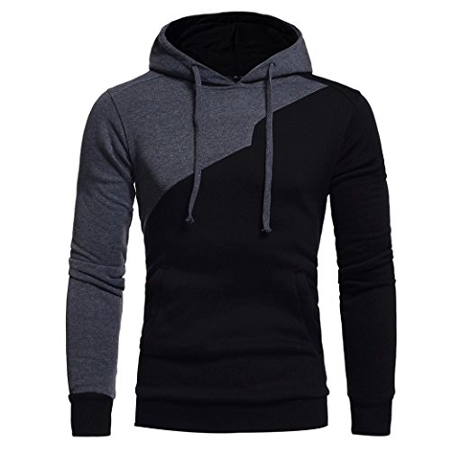 Victorcn Mens' Contrast Color Long Sleeve Patchwork Hoodie Hooded Sweatshirt Tops Coat Outwear (XXL, - Hipster Fasion