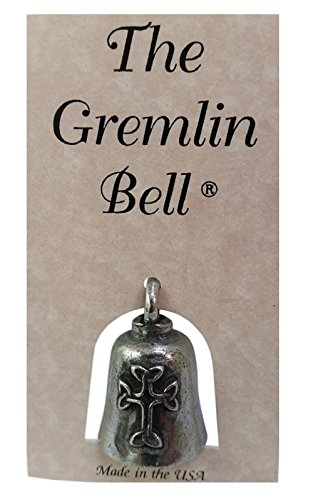 The Gremlin Bell Celtic Cross Pewter Good Luck Charm with Pouch and 2 Attachments and Story Card (Celtic) (Miniature Bell)
