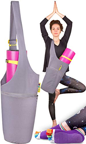 Jambala Large Yoga Mat Bag and Socks Bundle, 4 Pockets