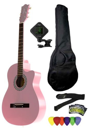 Pink Cutaway Acoustic Guitar (Fever 3/4 Size Acoustic Cutaway Guitar Package Pink with Gig Bag Guitar Tuner Picks and Strap FV-030C-PK-PACK)