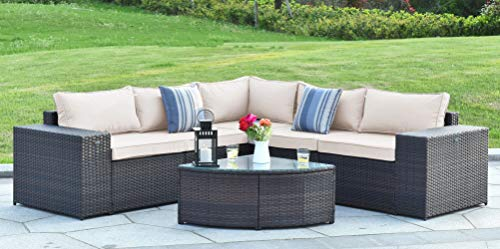 (Gotland 6-Piece Outdoor Furniture Sectional Sofa & Glass Coffee Table,with Washable Sand Color Cushions for Backyard,Pool,Patio| Incl. Dust Cover(No Back Rope))