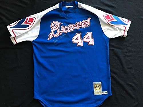 (Hank Aaron Autographed Signed 1974 Milwaukee Atlanta Braves Throwback Jersey Memorabilia JSA Loa)