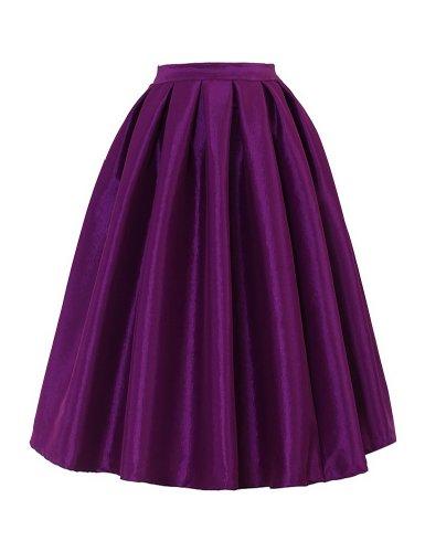 PrettyGuide Women High Waist A Line Pleated Midi Bubble Skirt ...
