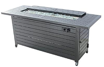 "Legacy Heating vc-CDFP-S-CB Gas Aluminum Fire Table, 56.7"" x 21.3"" x 24"", Black"
