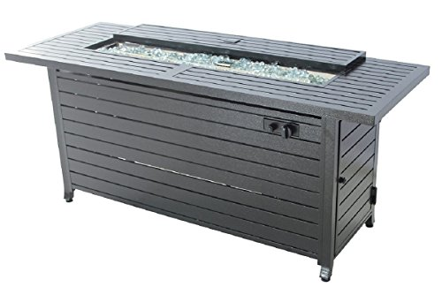 Legacy Heating Aluminum Rectangular Fire Pit Table, Hammered Black ()