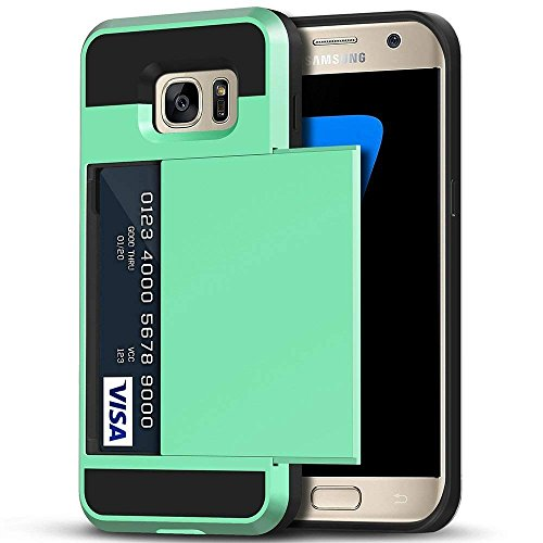 Galaxy S7 Edge Case, Anuck Slidable ID Card Slot Holder Galaxy S7 Edge Wallet Case [Credit Cards Pocket][Hard Shell] Shockproof Armor Rubber Bumper Protective Case Cover for Galaxy S7 Edge - Mint