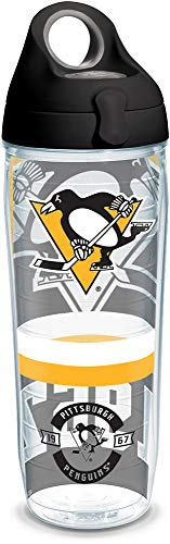 Tervis 1303644 NHL Pittsburgh Penguins Top Shelf Insulated Tumbler with Wrap and Black with Gray Lid, 24oz Water Bottle, - Bottle Insulated Pittsburgh