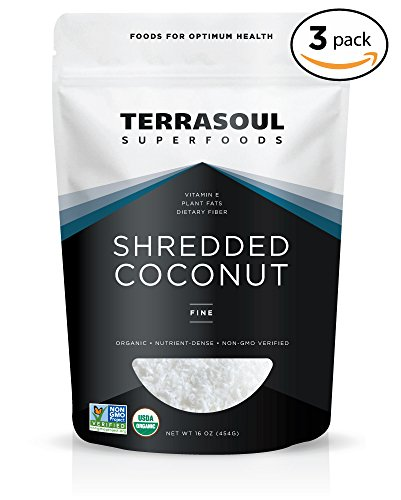 Terrasoul Superfoods Organic Shredded Coconut (Fine), 3 (Shred Coconut)