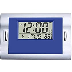 Vmarketingsite Digital Wall Clocks Blue, Silent Desk Clock Battery Operated Large LCD Kids Alarm Clock W/Countdown/Countup Timer, Indoor Temperature, Date for Office/Kitchen/Bedroom/Bathroom