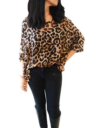 Animal Blouse Print (44Cloverdale Leopard Print top for Women, NO Ironing)