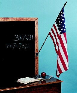 Classroom Flags On Staff - USA Rayon 16 in. x 24 in.