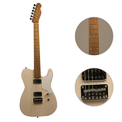 ZUWEI Semi Hollow Body Electric Guitar with Roasted Maple Neck, Alnico Pickups and Bone Nut, Trans Wood Body, with Gig Bag and Cable (Trans White)