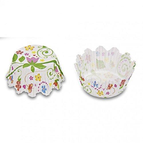 100 Mini-Muffin Papierförmchen mit Zacken, Blumengarten