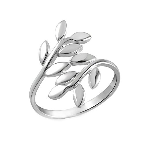 Bypass Ring Flower (Sterling Silver Vine Leaf Thumb Ring Size 9)