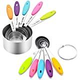 Measuring Cups and Spoons - 10 Piece Set — Stainless Steel Measuring Cups (5 Cups and 5 Spoons, Plus 2 Rings)