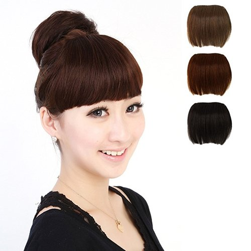 top0dream Synthetic for Wigs Girl's Pretty Clip On Front Hair Neat Bang Straight Fringe Hair Extension Synthetic Loose Curly Front Wig for Women Natural Heat Resistant Hair- Light Brown ()