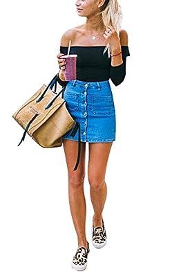 USGreatgorgeous Women's Juniors Cute Button Down Denim Mini Skirt Short Pencil Jean Skirt