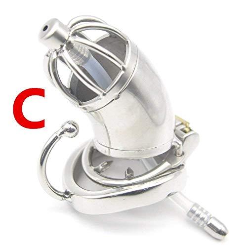 Steel Chástity Cage with Urêthral Sound Cathêter Anti-Off Spike Ring Male Chástity Devices Çoçk Lock for Men ()