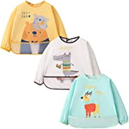 Baby Bibs 3 Pcs Long Sleeved Waterproof Toddler Bibs Full Coverage Apron Bib Smock with Pocket