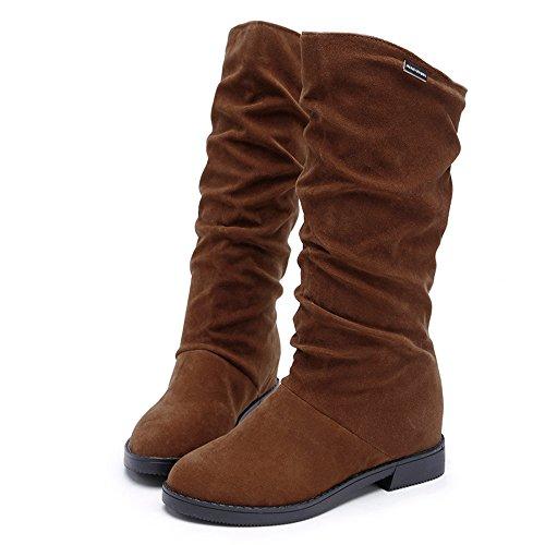 The Brown Women's Over Boots Brezeh Snow Heel Flat Boots Women Knee Shoes Autumn Winter Ovf6Tzzqw