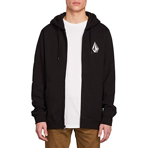 Volcom Men's Deadly Stone Zip Up Hooded Sweatshirt, Black, Medium