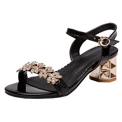 COOLCEPT Mujer Moda Punta Abierta Slingback Al Tobillo Chunky Heel Sandalias Negro