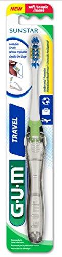 GUM Travel Toothbrush with Antibacterial Bristles & Folding Handle, Soft Bristles