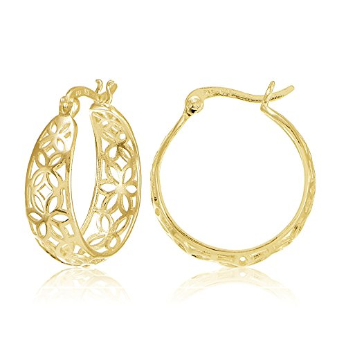 Yellow Gold Flashed Sterling Silver Filigree Floral Design Hoop Earrings
