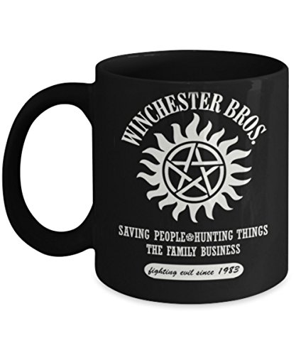 Winchester Bros(B) - By: Trinkets & Novelty - This 11-oz Supernatural Coffee Mug Cocoa Tea Cup Is The Perfect Supernatural Merchandise Gift For Any Fan of Sam and Dean Winchester Bros