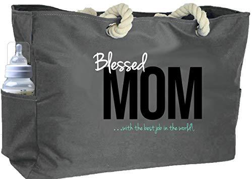 KEHO Ultimate Waterproof Diaper Tote Bag For Moms (Huge). Perfect Baby Shower Gift. Comfy Rope Shoulder Handles, 5 Pockets & Spillproof Fabric Hospital Travel