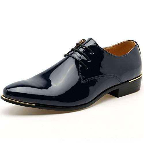 Lingtom Verni Mens Lace Up Tuxedo Oxford Robe Chaussures De Mariage Bleu