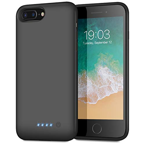 Battery Case for iPhone 8plus/7plus/6 Plus/6s Plus, Upgraded [8500mAh] Protective Portable Charging Case Rechargeable Extended Battery Pack for Apple iPhone 8plus/7plus/6 Plus/6s Plus(5.5') - Black