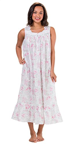 Eileen West Robe & Gown Set - Sleeveless Cotton Lawn Peignoir Set - Country Rose (White/Pink Floral, Large) by Eileen West (Image #1)