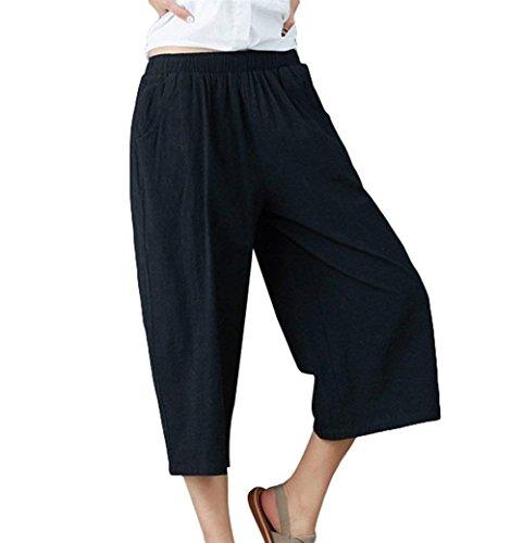 Gamba Sciolto Elasticit Lino Casual Pantaloni Fashion Donna Larga 6xqW1XC
