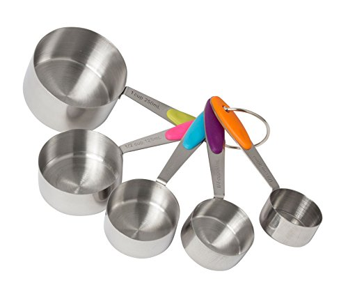 Handles Metric Grip - Stainless Steel Measuring Cups - Nesting on Removable Ring - Non Slip Silicone Grip Handles - US and Metric Measurements - 5 Piece Set - by Bovado USA