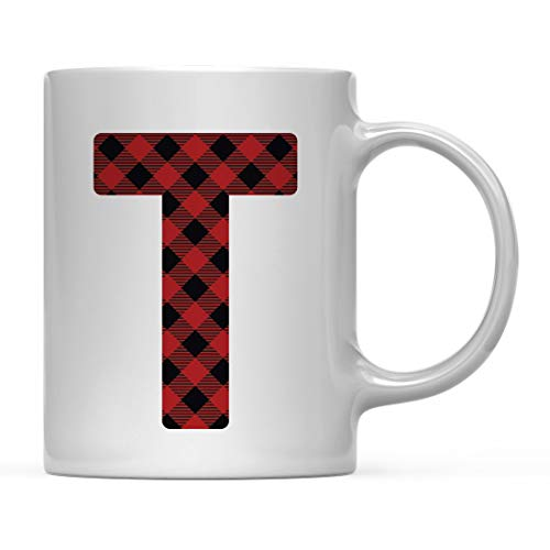 (Andaz Press Hot Chocolate Coffee Mug Gift, Buffalo Lumberjack Red Plaid Monogram Initial Letter T, 1-Pack, Includes Gift Bag, Christmas Holiday Present Ideas )