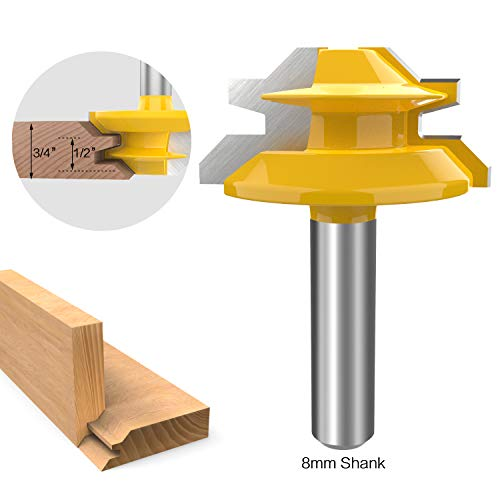 ROOCBIT 8MM Shank 45 Degree Lock Miter Router Bit 1/2 to 3/4 Inch Stock Joint Router Bit Woodworking Cutter ()