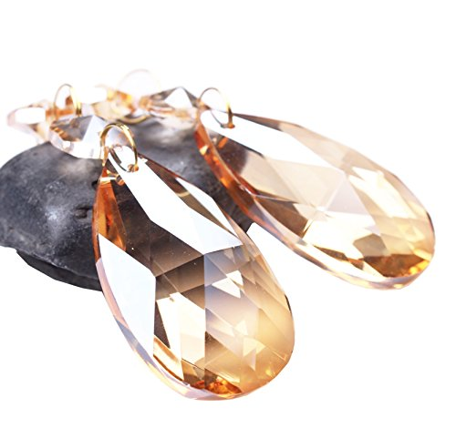 BIHRTC Pack of 12 Amber Crystal Teardrop Chandelier Prisms Pendants Hanging Galss Crystal Pendants (Acrylic Amber Necklace)
