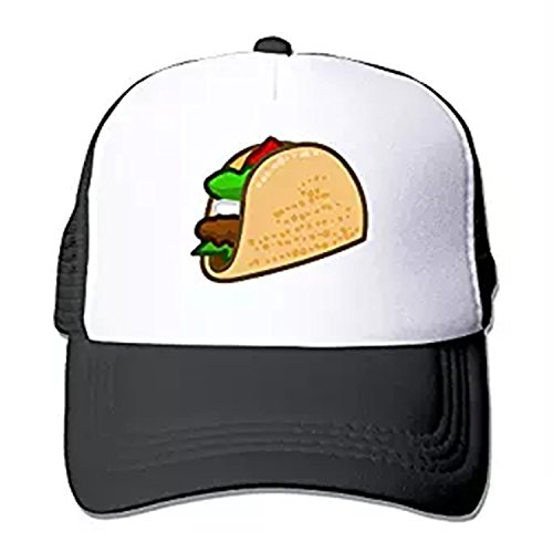 ZMvise Cartoon Taco Fashion Cap Clipart Adjustable Trucker Hat Unisex Style (Black) -