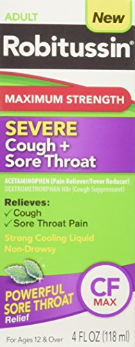 Robitussin Adult Maximum Strength Severe Cough + Sore Throat Relief Medicine, Cough Suppressant, Acetaminophen, 4 Fluid Ounce (Sore Throat Cough Medicine Best)