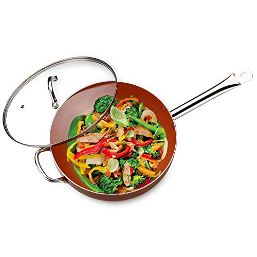 Culinary Edge 6QT Titanium Fry Pan Wok Casserole set with Lid Dishwasher & Oven safe Copper Wok Set