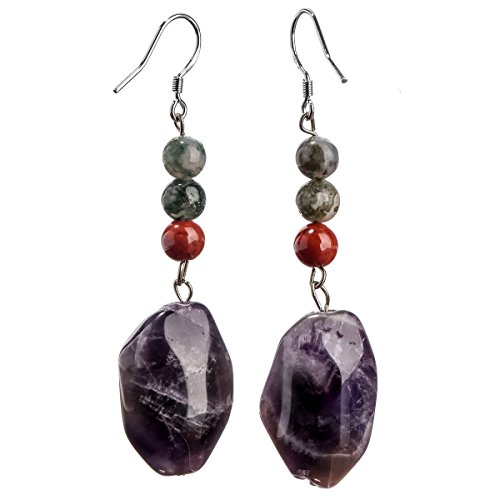 YACQ Sterling Silver Amethyst Agate Redstone Gemstone Dangle Earrings Handcrafted Jewelry for Women (amethyst,agate,redstone)