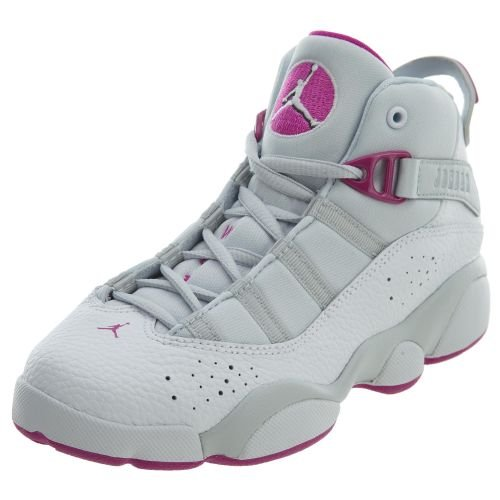 NIKE Jordan 6 Rings GP Girls Fashion-Sneakers 323431-011_1Y - Pure Platinum/Fuchsia Blast-White