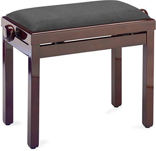- Stagg PB39 MHP VBK Piano Bench - Mahogany High Gloss Finish with Black Velvet Top