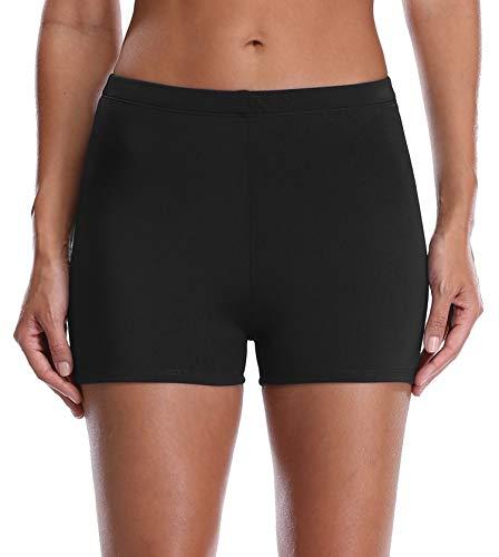 ATTRACO Women's Plus Size Broad Shorts Boyleg Swim Bottom Black 22 ()