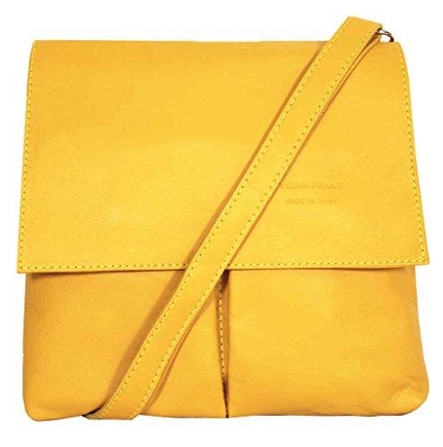 Yellow Medium Retail Handbag Italian Vera Leather Bag Crossbody Pelle Amethyst Shoulder vPqOa
