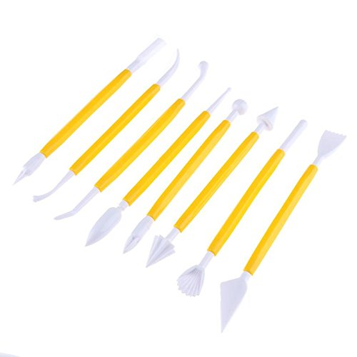 8Pcs Plastic Pottery Modeling Sculpture Set DIY Carving Clay Sculpture Knife Shaper Polymer Modeling Clay Tools ()