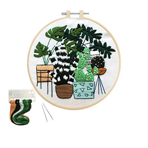 Louise Maelys Plant Embroidery Kit for Beginner Stamped Hand Cross Stitch Needlepoint Kits for Adults