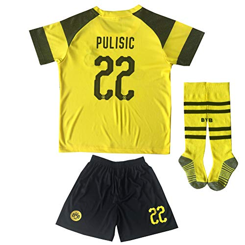 LES TRICOT 2018/2019 Borrusia Dortmund BVB Home #22 Christian PULISIC Soccer Kids Jersey Shorts Socks Set Youth Sizes