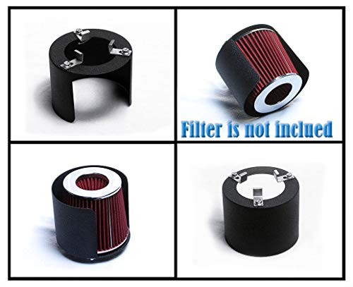 UNIVERSAL ALUMINUM with BLACK PAINT WRINKLES FINISHED CONE AIR FILTER COVER HEATSHIELD fit 2.75